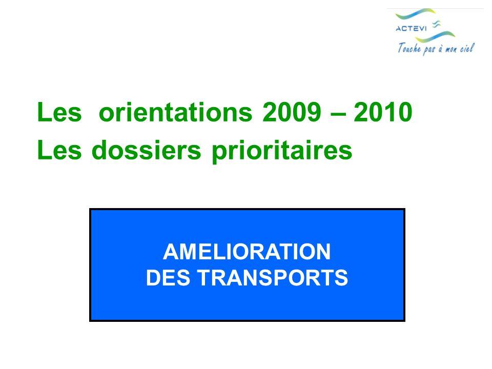 Les orientations 2009 – 2010 Les dossiers prioritaires AMELIORATION DES TRANSPORTS