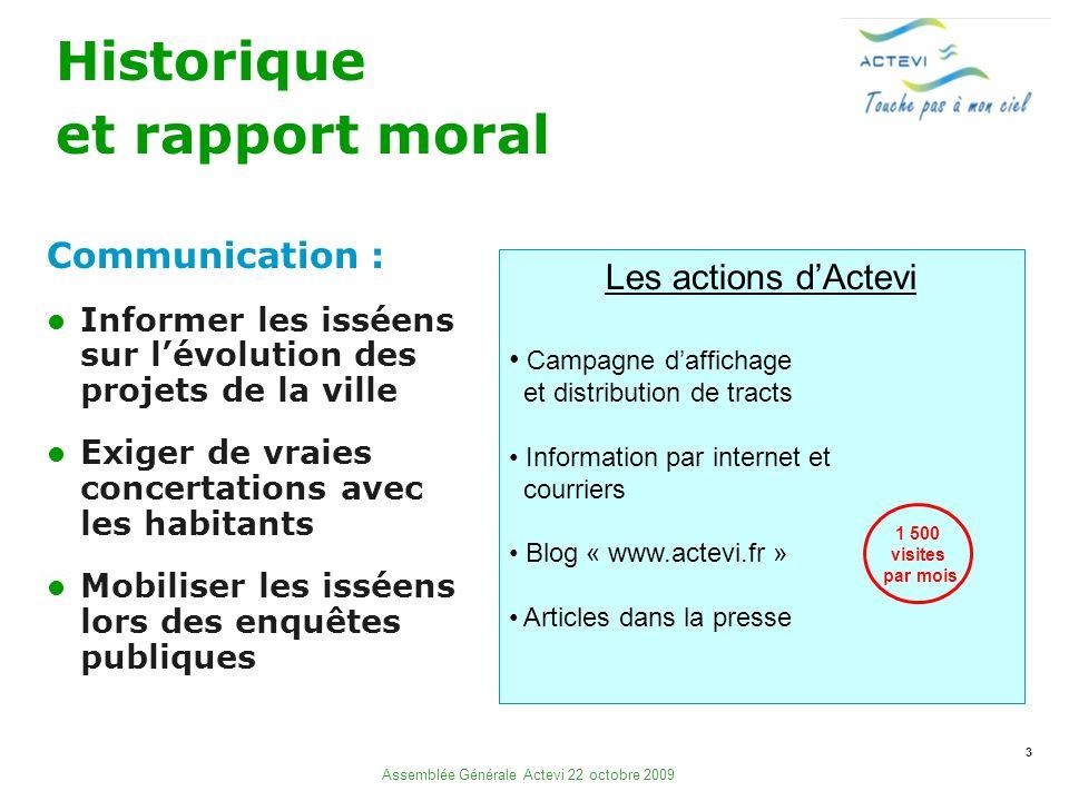 3 Assemblée Générale Actevi 22 octobre 2009 Historique et rapport moral Communication : Informer les isséens sur lévolution des projets de la ville Ex
