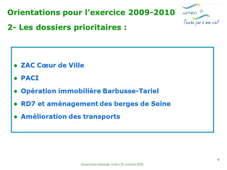 6 Assemblée Générale Actevi 22 octobre 2009 ZAC Cœur de Ville PACI Opération immobilière Barbusse-Tariel RD7 et aménagement des berges de Seine Amélioration des transports Orientations pour lexercice 2009-2010 2- Les dossiers prioritaires :