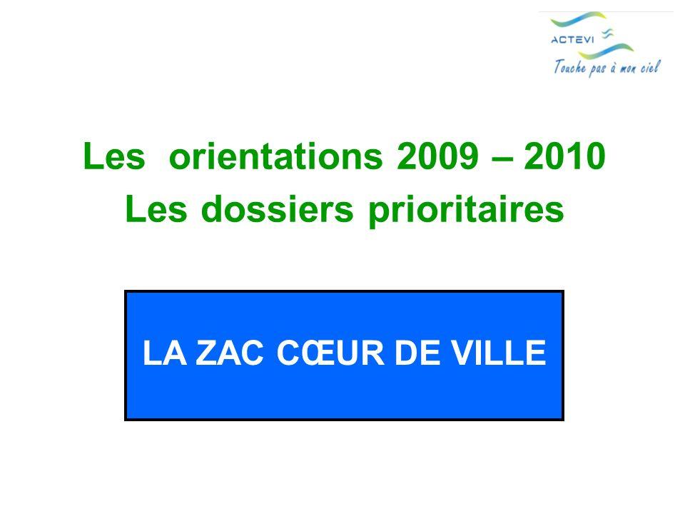 Les orientations 2009 – 2010 Les dossiers prioritaires LA ZAC CŒUR DE VILLE