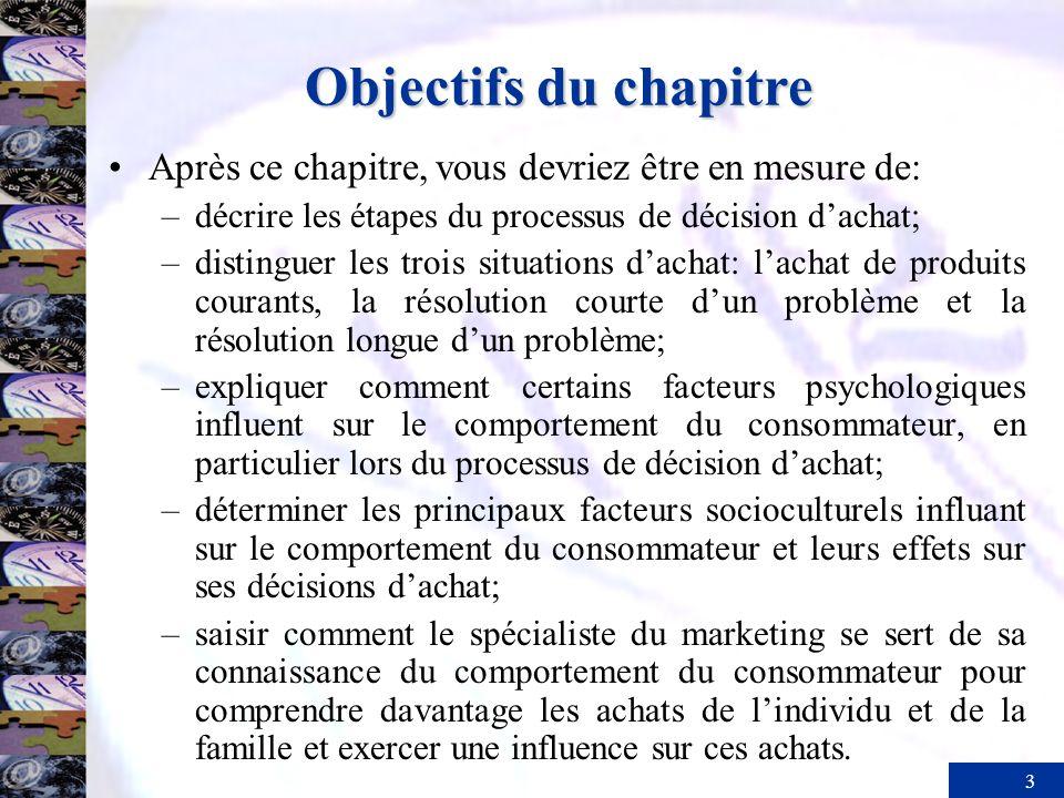 3 Objectifs du chapitre Après ce chapitre, vous devriez être en mesure de: –décrire les étapes du processus de décision dachat; –distinguer les trois