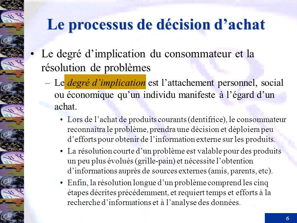 6 Le degré dimplication du consommateur et la résolution de problèmes –Le degré dimplication est lattachement personnel, social ou économique quun individu manifeste à légard dun achat.