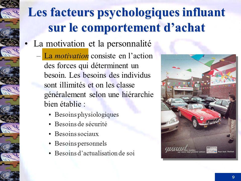 9 Les facteurs psychologiques influant sur le comportement dachat La motivation et la personnalité –La motivation consiste en laction des forces qui déterminent un besoin.