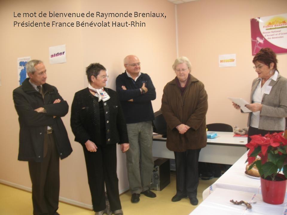 Le mot de bienvenue de Raymonde Breniaux, Présidente France Bénévolat Haut-Rhin