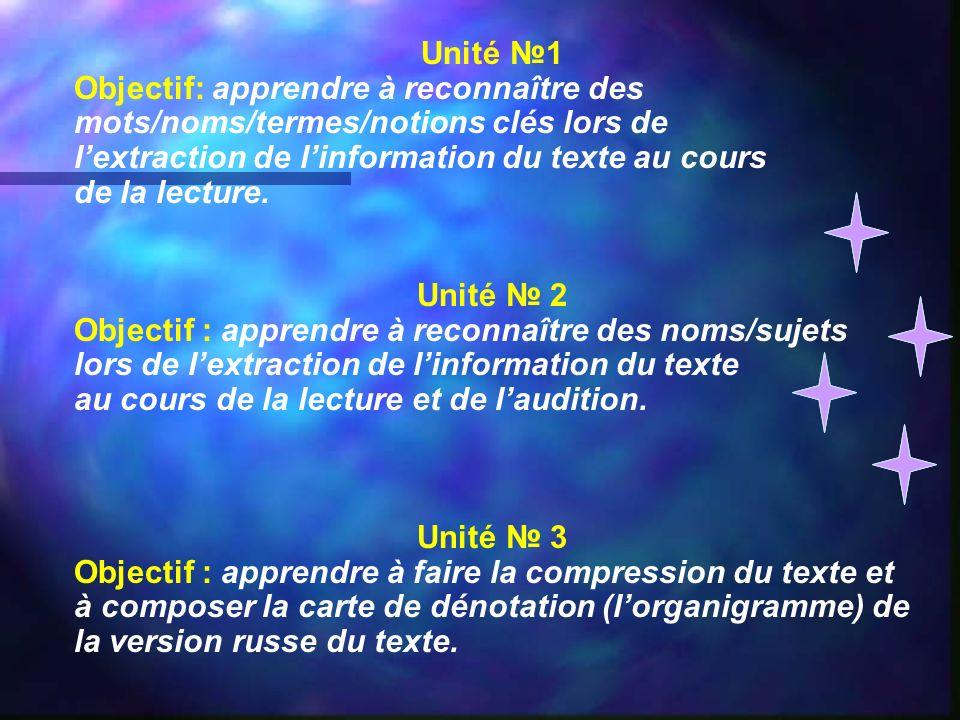 Unité 1 Objectif: apprendre à reconnaître des mots/noms/termes/notions clés lors de lextraction de linformation du texte au cours de la lecture. Unité