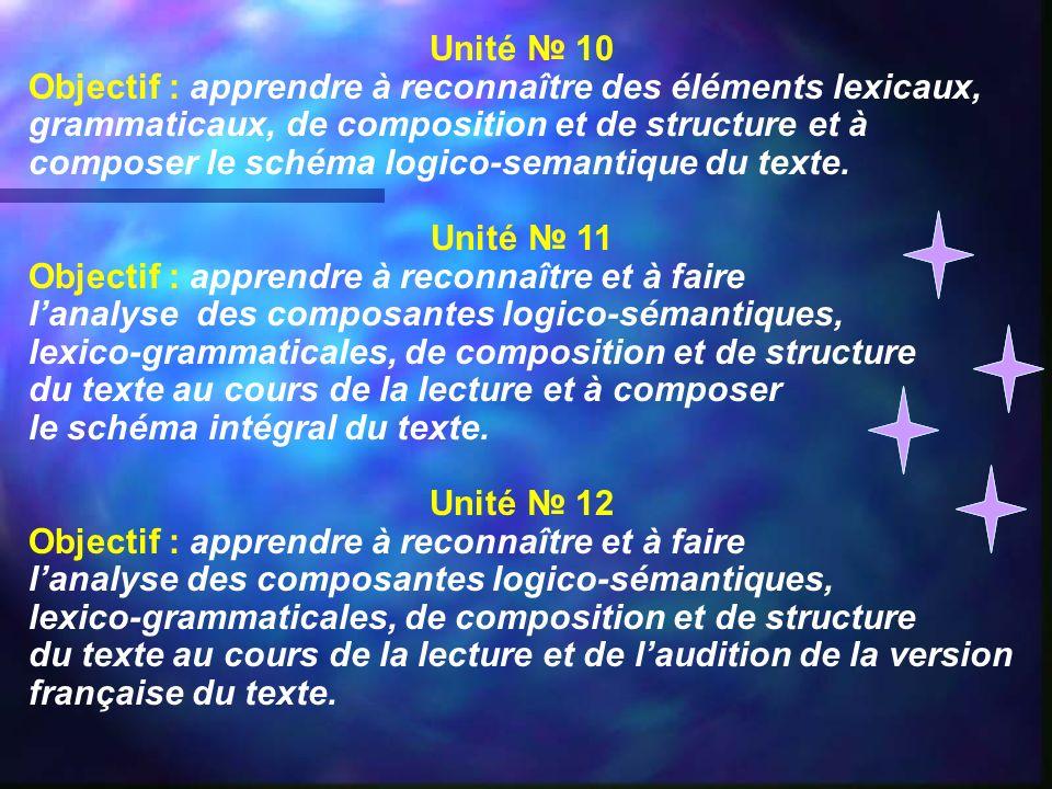 Unité 10 Objectif : apprendre à reconnaître des éléments lexicaux, grammaticaux, de composition et de structure et à composer le schéma logico-semanti