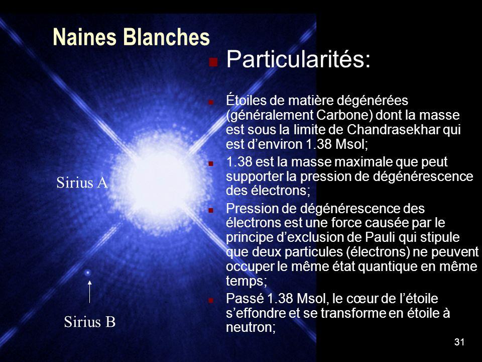 31 Naines Blanches Particularités: Étoiles de matière dégénérées (généralement Carbone) dont la masse est sous la limite de Chandrasekhar qui est denv