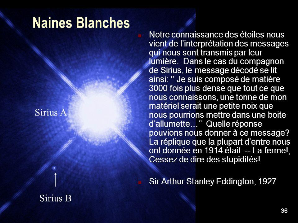 36 Naines Blanches Notre connaissance des étoiles nous vient de linterprétation des messages qui nous sont transmis par leur lumière. Dans le cas du c