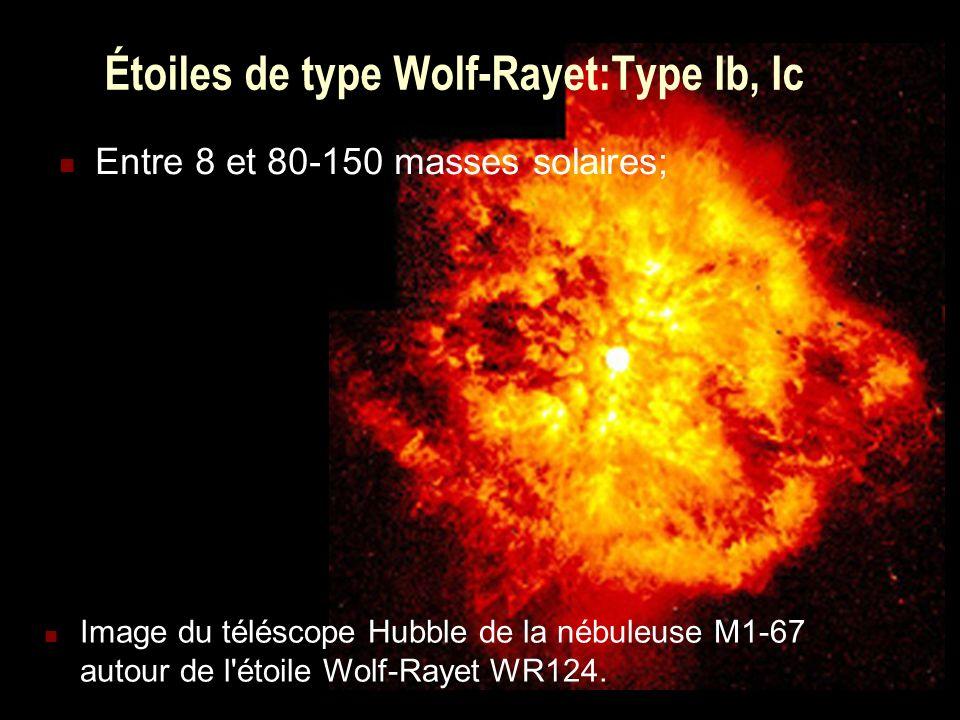 6 Étoiles de type Wolf-Rayet:Type Ib, Ic Entre 8 et 80-150 masses solaires; Image du téléscope Hubble de la nébuleuse M1-67 autour de l'étoile Wolf-Ra