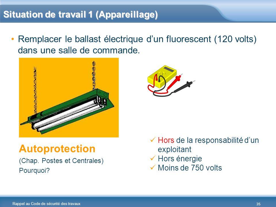 Rappel au Code de sécurité des travaux Situation de travail 1 (Appareillage) Remplacer le ballast électrique dun fluorescent (120 volts) dans une sall
