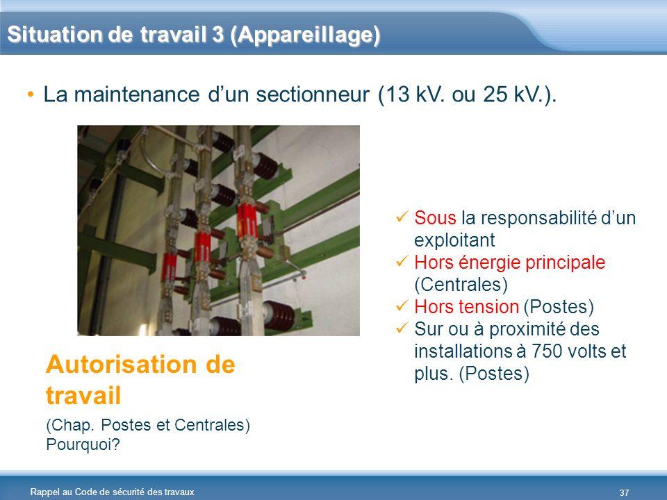 Rappel au Code de sécurité des travaux La maintenance dun sectionneur (13 kV. ou 25 kV.). Autorisation de travail (Chap. Postes et Centrales) Pourquoi
