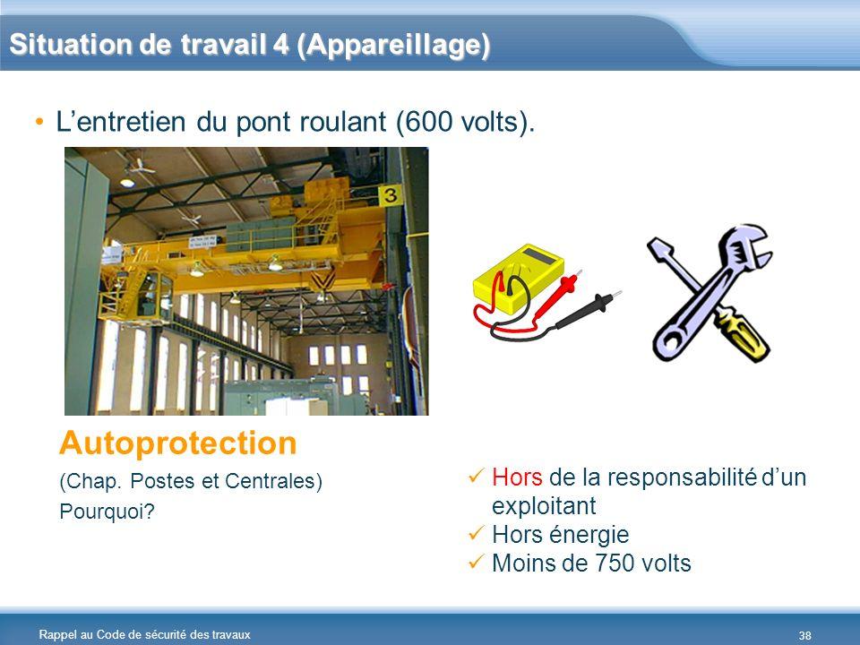 Rappel au Code de sécurité des travaux Lentretien du pont roulant (600 volts). Autoprotection (Chap. Postes et Centrales) Pourquoi? Hors de la respons