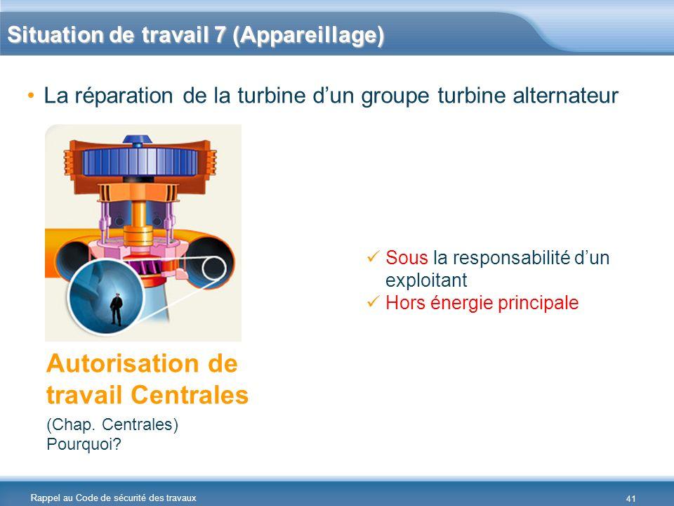 Rappel au Code de sécurité des travaux La réparation de la turbine dun groupe turbine alternateur Autorisation de travail Centrales (Chap. Centrales)