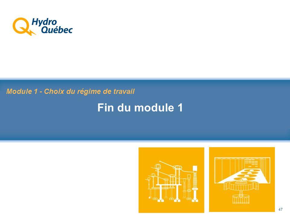 Rappel au Code de sécurité des travaux 47 Module 1 - Choix du régime de travail Fin du module 1