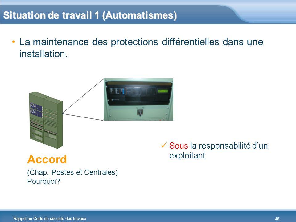 Rappel au Code de sécurité des travaux La maintenance des protections différentielles dans une installation. Accord (Chap. Postes et Centrales) Pourqu