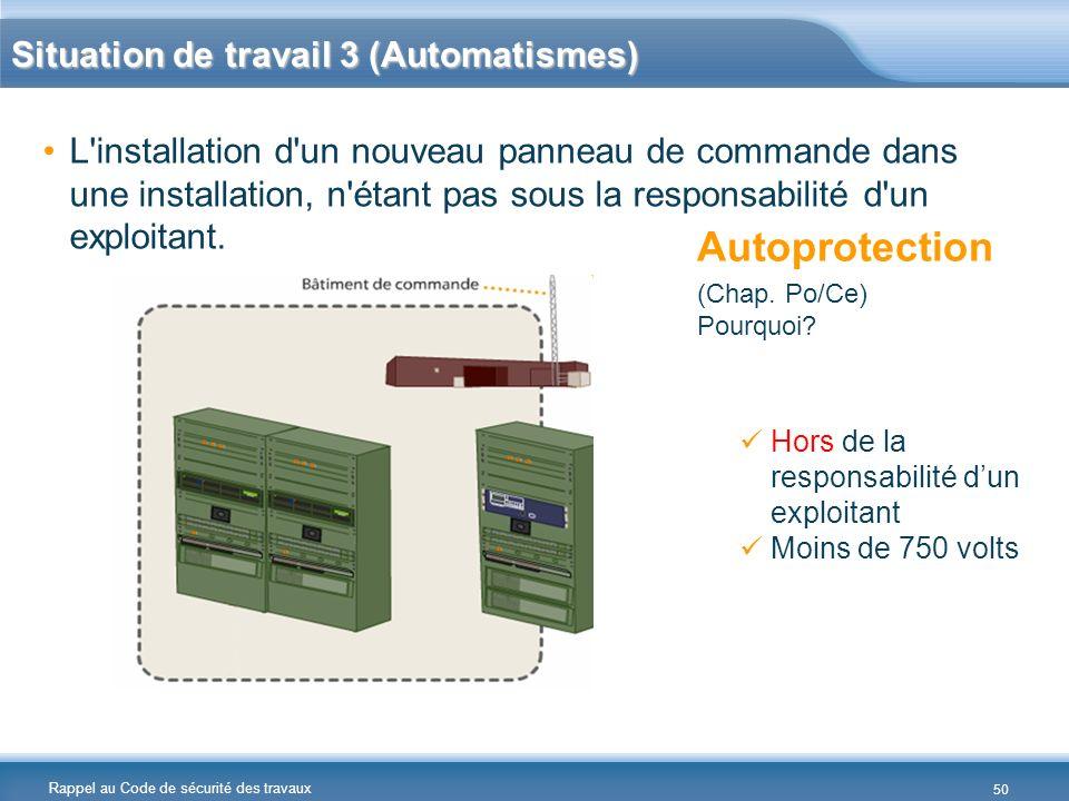 Rappel au Code de sécurité des travaux Situation de travail 3 (Automatismes) L'installation d'un nouveau panneau de commande dans une installation, n'