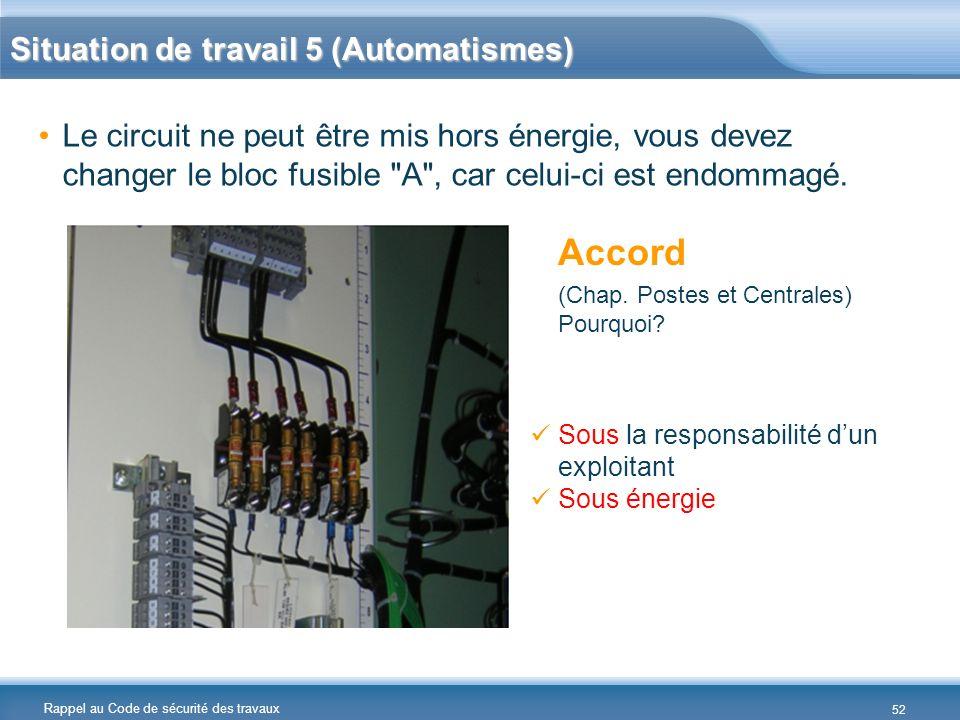 Rappel au Code de sécurité des travaux Situation de travail 5 (Automatismes) Le circuit ne peut être mis hors énergie, vous devez changer le bloc fusi