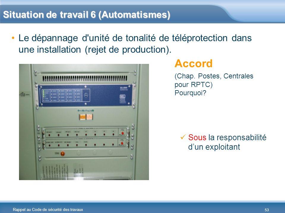 Rappel au Code de sécurité des travaux Situation de travail 6 (Automatismes) Le dépannage d'unité de tonalité de téléprotection dans une installation