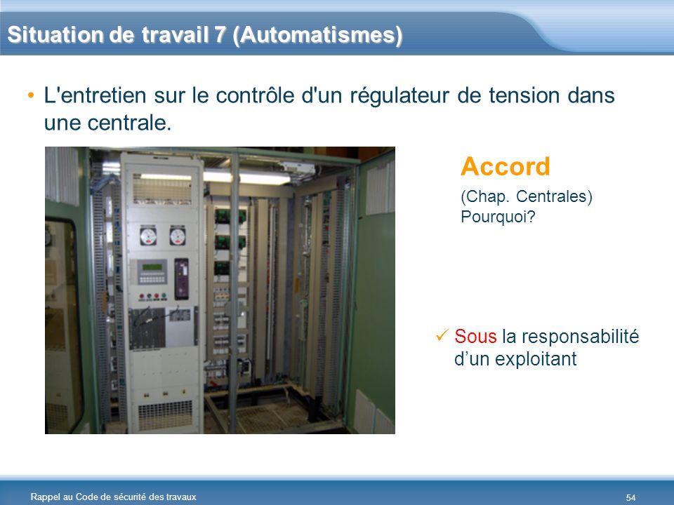 Rappel au Code de sécurité des travaux Situation de travail 7 (Automatismes) L'entretien sur le contrôle d'un régulateur de tension dans une centrale.