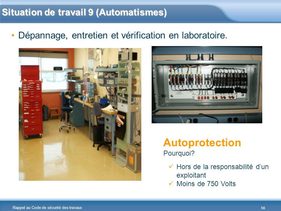 Rappel au Code de sécurité des travaux Dépannage, entretien et vérification en laboratoire. Hors de la responsabilité dun exploitant Moins de 750 Volt