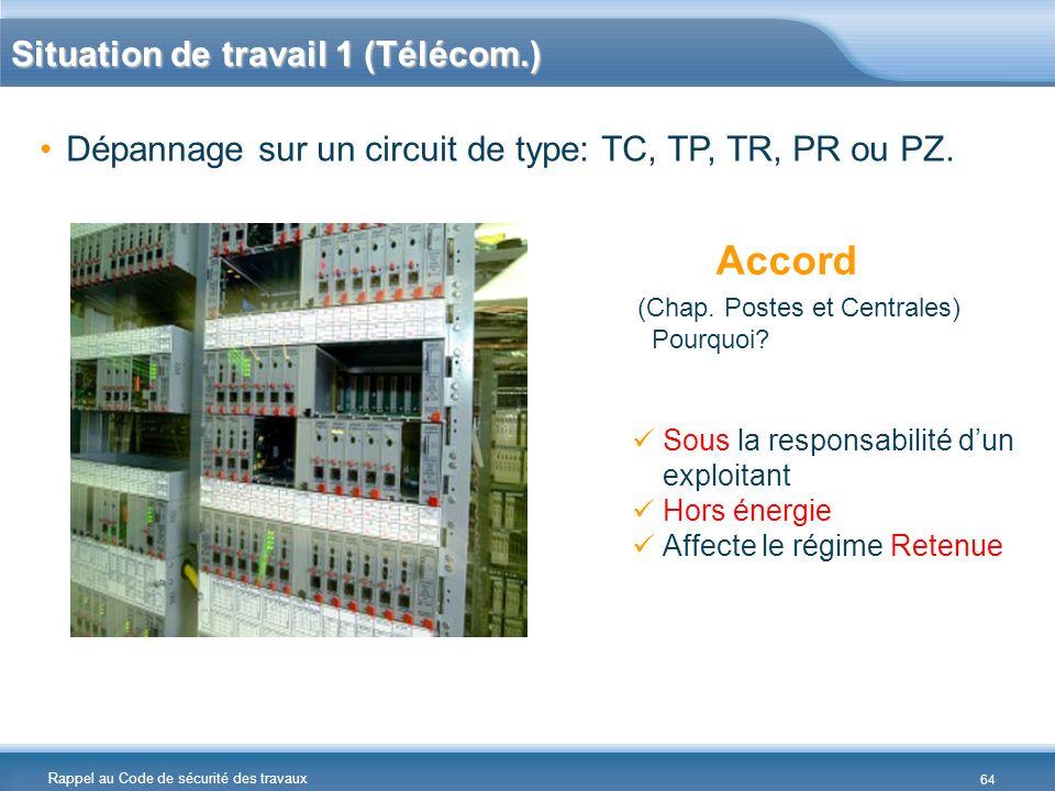 Rappel au Code de sécurité des travaux Situation de travail 1 (Télécom.) Dépannage sur un circuit de type: TC, TP, TR, PR ou PZ. Accord (Chap. Postes