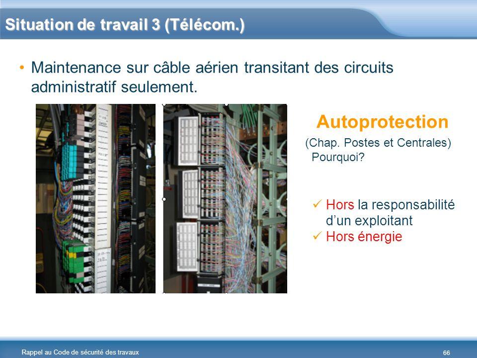 Rappel au Code de sécurité des travaux Situation de travail 3 (Télécom.) Maintenance sur câble aérien transitant des circuits administratif seulement.