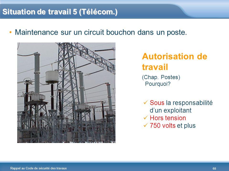 Rappel au Code de sécurité des travaux Situation de travail 5 (Télécom.) Maintenance sur un circuit bouchon dans un poste. Autorisation de travail (Ch