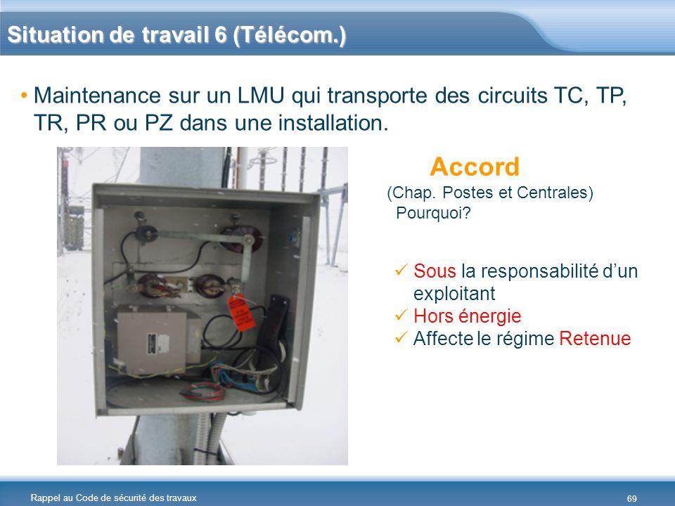 Rappel au Code de sécurité des travaux Situation de travail 6 (Télécom.) Maintenance sur un LMU qui transporte des circuits TC, TP, TR, PR ou PZ dans