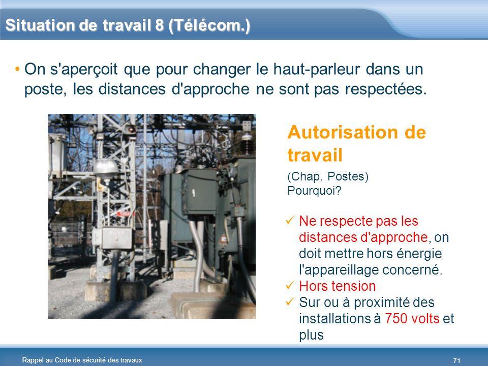 Rappel au Code de sécurité des travaux Situation de travail 8 (Télécom.) On s'aperçoit que pour changer le haut-parleur dans un poste, les distances d