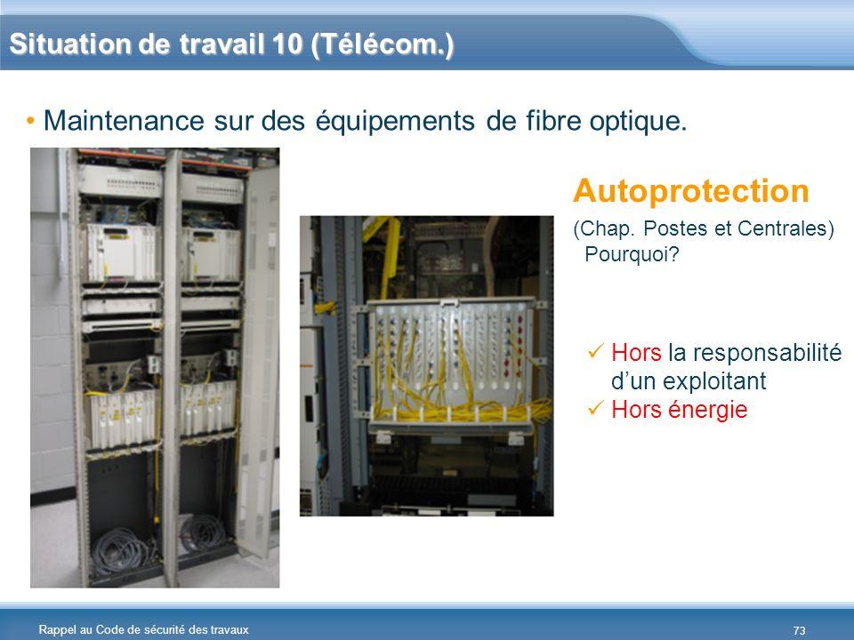 Rappel au Code de sécurité des travaux Situation de travail 10 (Télécom.) Hors la responsabilité dun exploitant Hors énergie Autoprotection (Chap. Pos
