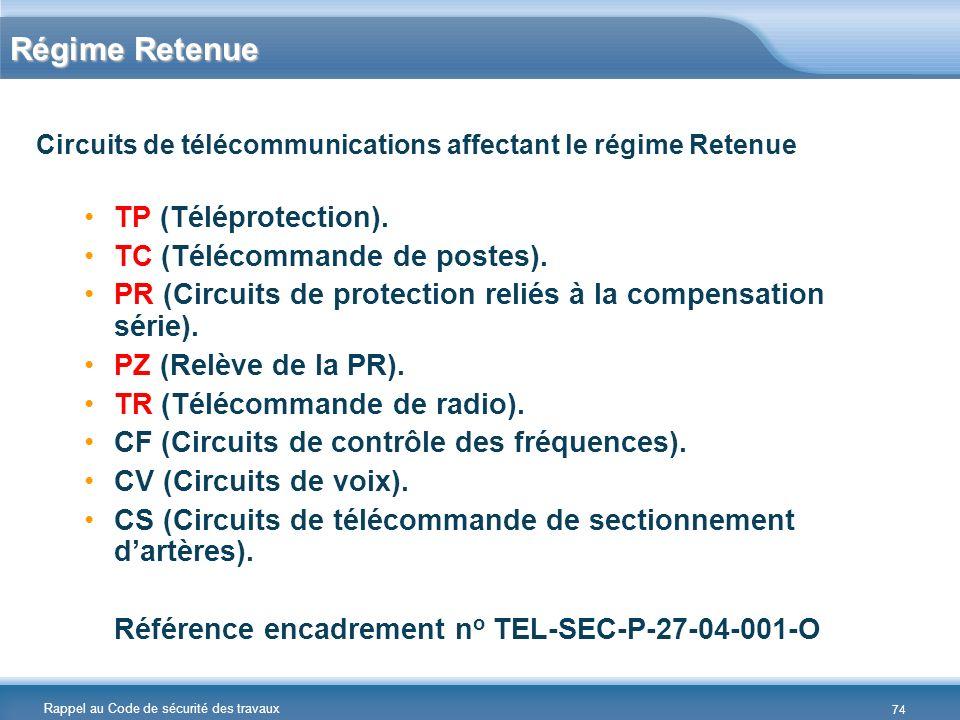 Rappel au Code de sécurité des travaux Régime Retenue Circuits de télécommunications affectant le régime Retenue TP (Téléprotection). TC (Télécommande