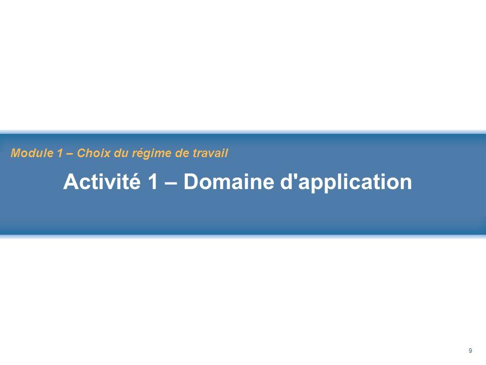 Rappel au Code de sécurité des travaux 9 Module 1 – Choix du régime de travail Activité 1 – Domaine d'application