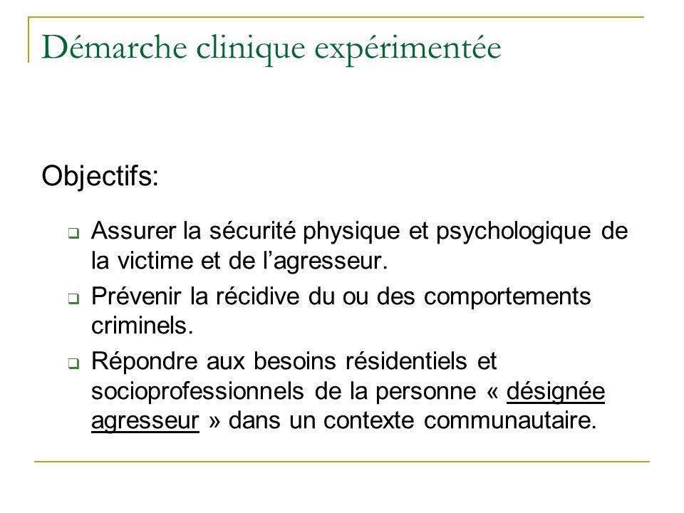 Démarche clinique expérimentée Objectifs: Assurer la sécurité physique et psychologique de la victime et de lagresseur. Prévenir la récidive du ou des