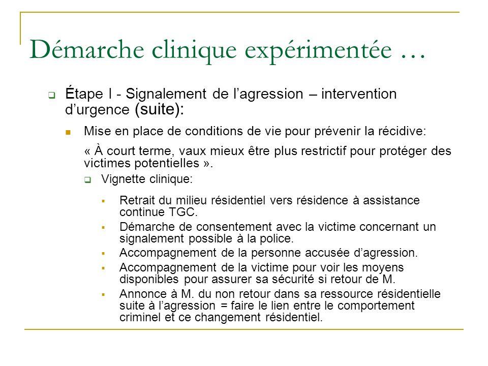 Démarche clinique expérimentée … Étape I - Signalement de lagression – intervention durgence (suite): Mise en place de conditions de vie pour prévenir