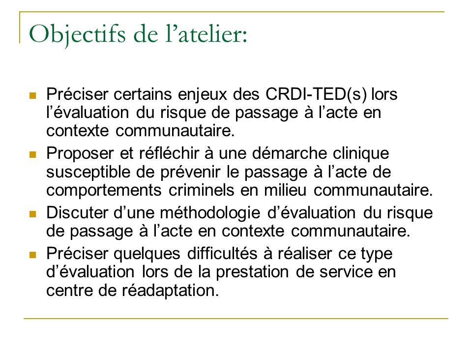 Objectifs de latelier: Préciser certains enjeux des CRDI-TED(s) lors lévaluation du risque de passage à lacte en contexte communautaire. Proposer et r