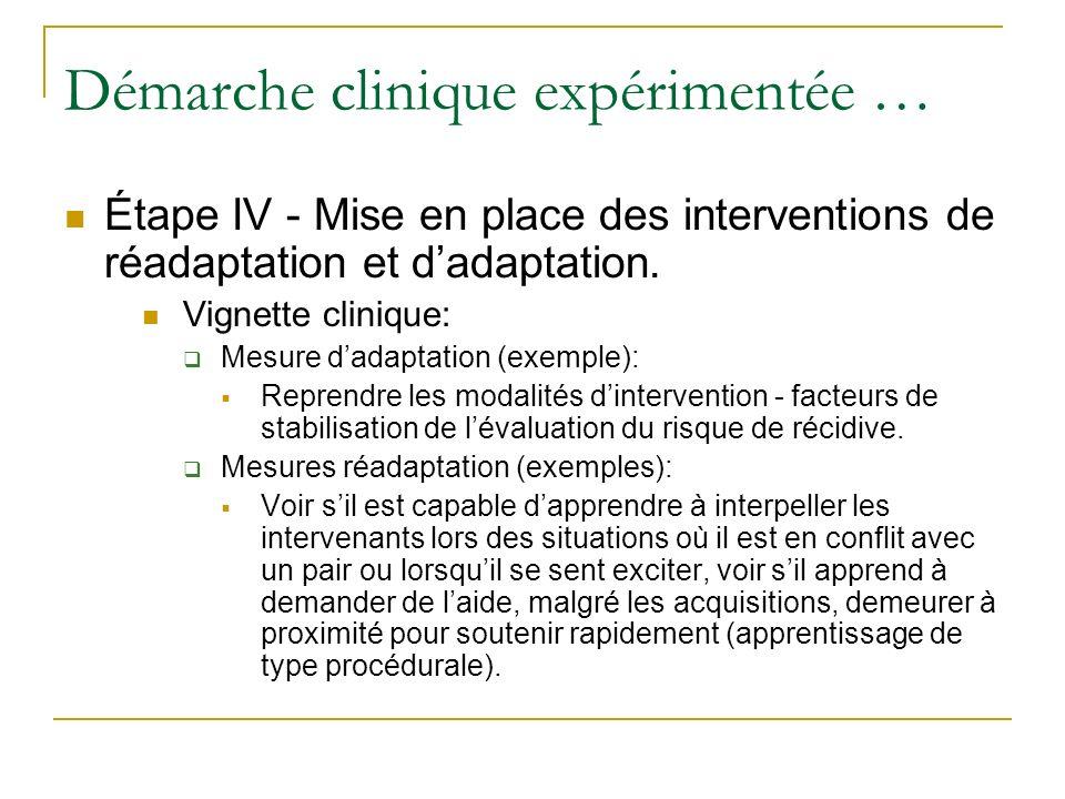 Démarche clinique expérimentée … Étape IV - Mise en place des interventions de réadaptation et dadaptation. Vignette clinique: Mesure dadaptation (exe