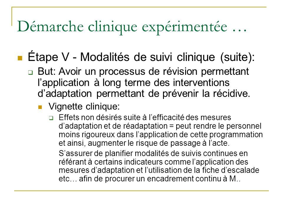 Démarche clinique expérimentée … Étape V - Modalités de suivi clinique (suite): But: Avoir un processus de révision permettant lapplication à long ter