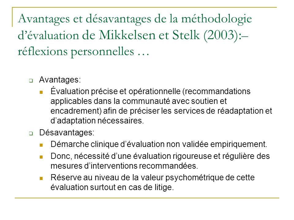 Avantages et désavantages de la méthodologie dévaluation de Mikkelsen et Stelk (2003): – réflexions personnelles … Avantages: Évaluation précise et op
