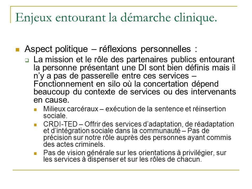 Enjeux entourant la démarche clinique. Aspect politique – réflexions personnelles : La mission et le rôle des partenaires publics entourant la personn