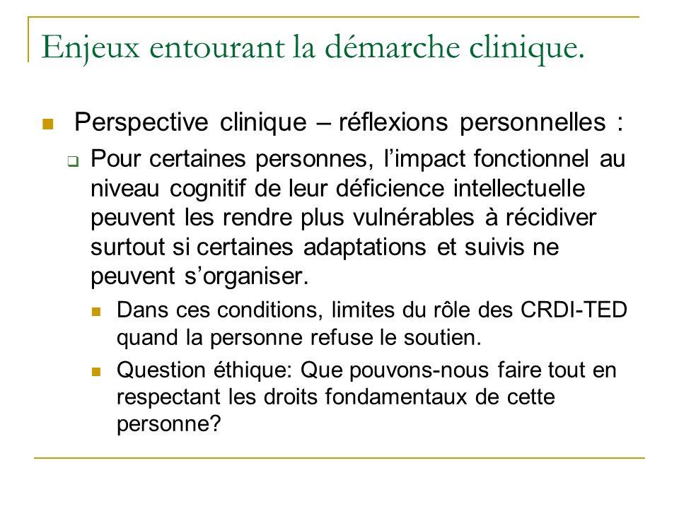 Enjeux entourant la démarche clinique. Perspective clinique – réflexions personnelles : Pour certaines personnes, limpact fonctionnel au niveau cognit