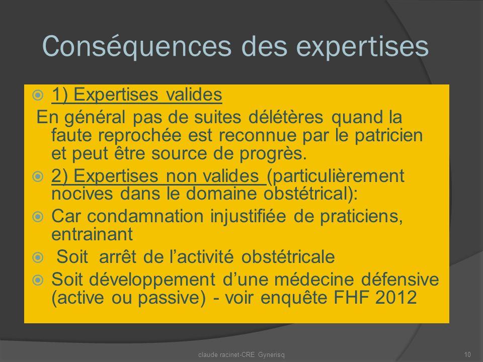 Conséquences des expertises 1) Expertises valides En général pas de suites délétères quand la faute reprochée est reconnue par le patricien et peut être source de progrès.