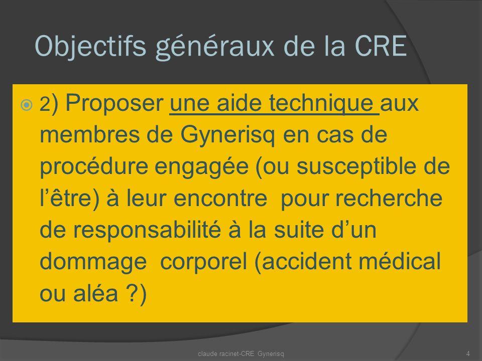 Objectifs généraux de la CRE 2 ) Proposer une aide technique aux membres de Gynerisq en cas de procédure engagée (ou susceptible de lêtre) à leur encontre pour recherche de responsabilité à la suite dun dommage corporel (accident médical ou aléa ?) claude racinet-CRE Gynerisq4