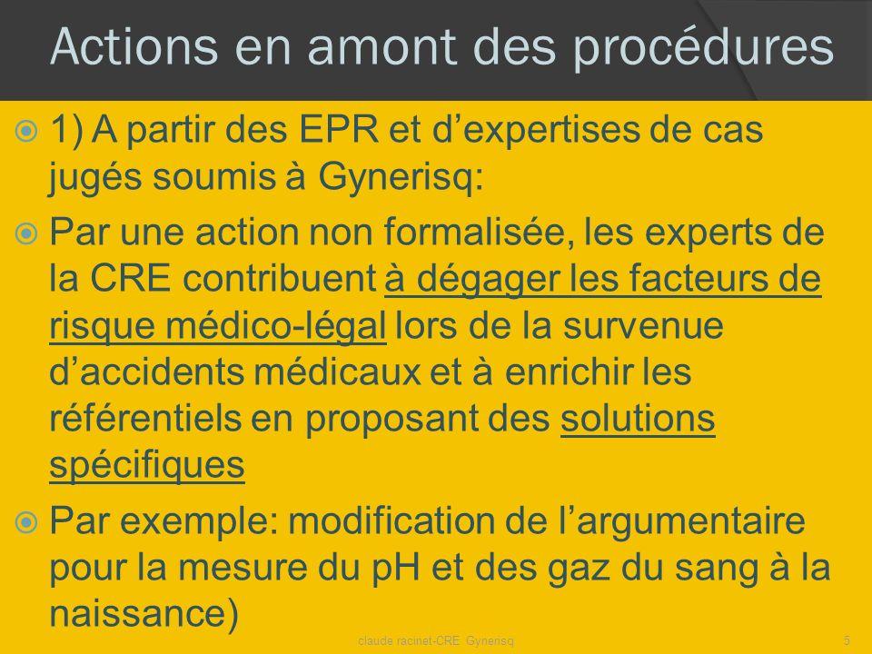 Actions en amont des procédures 1) A partir des EPR et dexpertises de cas jugés soumis à Gynerisq: Par une action non formalisée, les experts de la CR