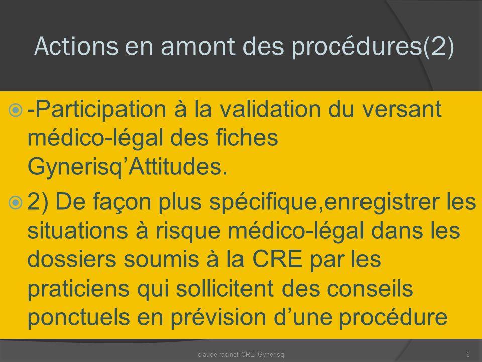 Actions en amont des procédures(2) -Participation à la validation du versant médico-légal des fiches GynerisqAttitudes. 2) De façon plus spécifique,en