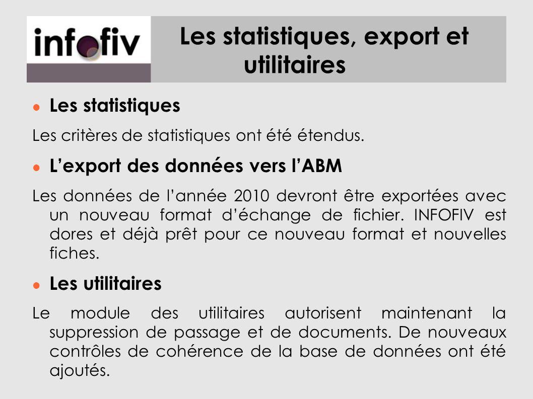 Les statistiques, export et utilitaires Les statistiques Les critères de statistiques ont été étendus. Lexport des données vers lABM Les données de la
