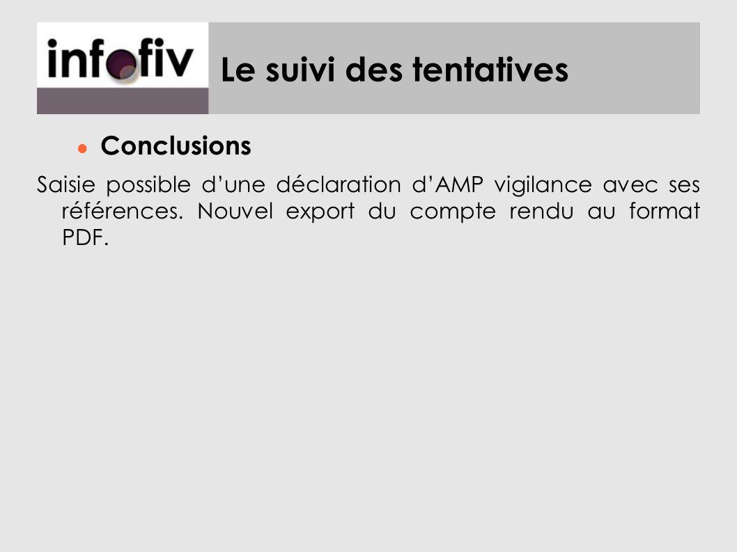 Le suivi des tentatives Conclusions Saisie possible dune déclaration dAMP vigilance avec ses références. Nouvel export du compte rendu au format PDF.