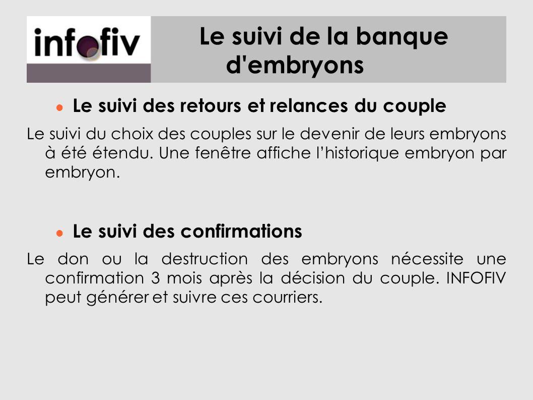 Le suivi de la banque d embryons Le suivi des retours et relances du couple Le suivi du choix des couples sur le devenir de leurs embryons à été étendu.