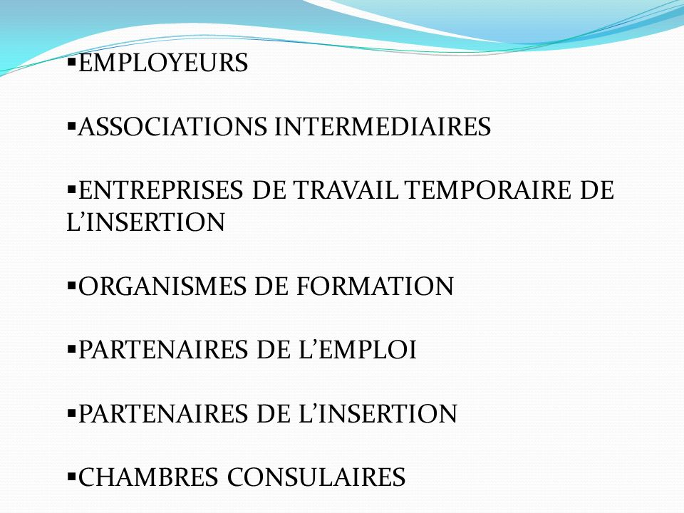 EMPLOYEURS ASSOCIATIONS INTERMEDIAIRES ENTREPRISES DE TRAVAIL TEMPORAIRE DE LINSERTION ORGANISMES DE FORMATION PARTENAIRES DE LEMPLOI PARTENAIRES DE LINSERTION CHAMBRES CONSULAIRES