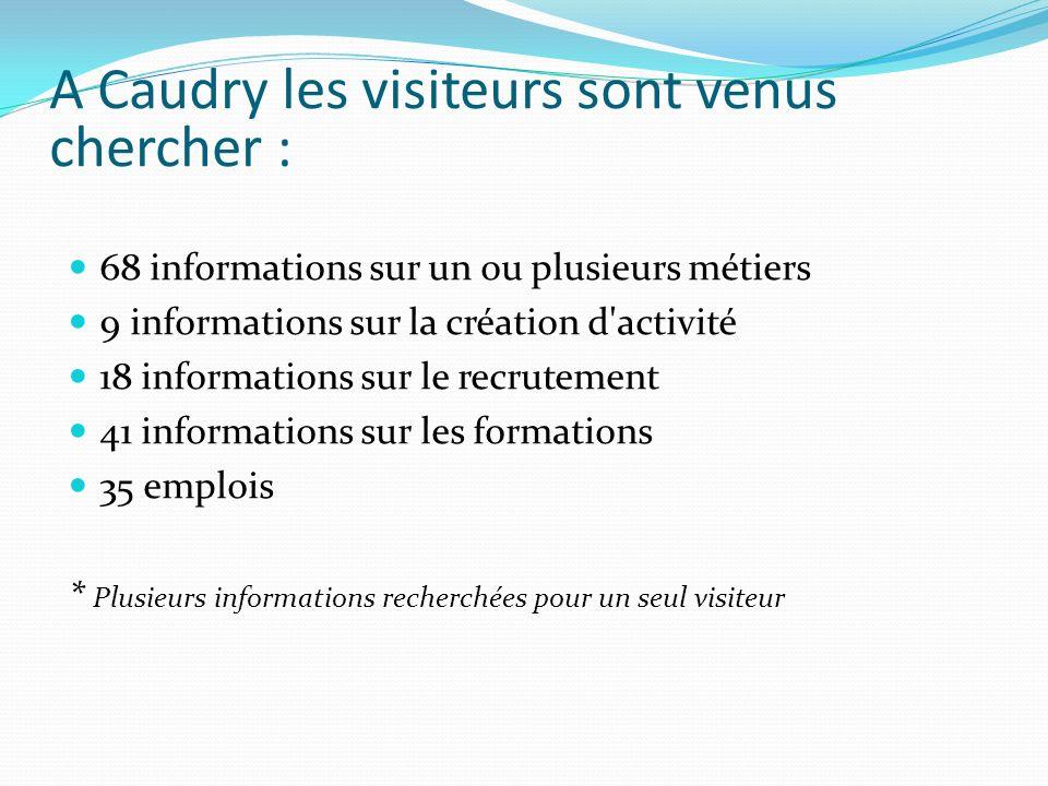 A Caudry les visiteurs sont venus chercher : 68 informations sur un ou plusieurs métiers 9 informations sur la création d'activité 18 informations sur