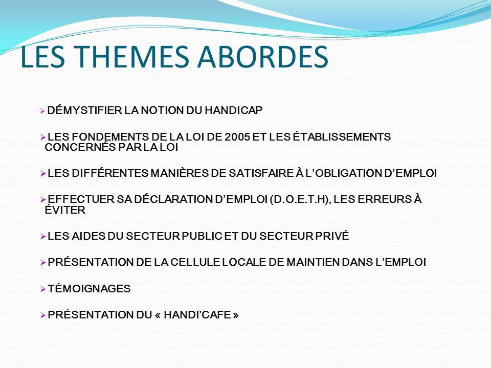 LES THEMES ABORDES DÉMYSTIFIER LA NOTION DU HANDICAP LES FONDEMENTS DE LA LOI DE 2005 ET LES ÉTABLISSEMENTS CONCERNÉS PAR LA LOI LES DIFFÉRENTES MANIÈRES DE SATISFAIRE À LOBLIGATION DEMPLOI EFFECTUER SA DÉCLARATION DEMPLOI (D.O.E.T.H), LES ERREURS À ÉVITER LES AIDES DU SECTEUR PUBLIC ET DU SECTEUR PRIVÉ PRÉSENTATION DE LA CELLULE LOCALE DE MAINTIEN DANS LEMPLOI TÉMOIGNAGES PRÉSENTATION DU « HANDICAFE »